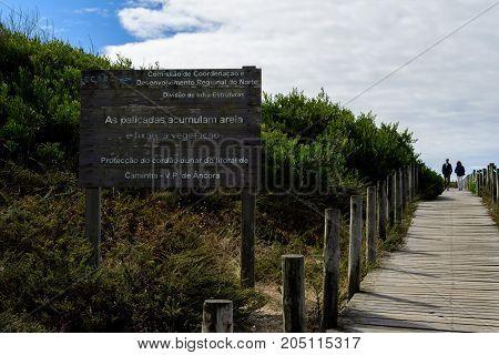 Vila Praia de Ancora Portugal - September 17 2017 : Protection of the dune cord of the coast of Caminha Vila Praia de Ancora Portugal