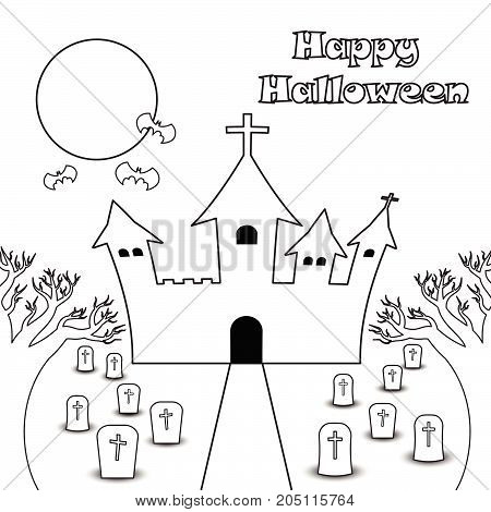 Vector Happy Halloween Night Illustration Of Line Curved Castle Under The Full Moon With Bats Among Graveyard With Many Tombstones. Two Dead Trees Are Foreground.