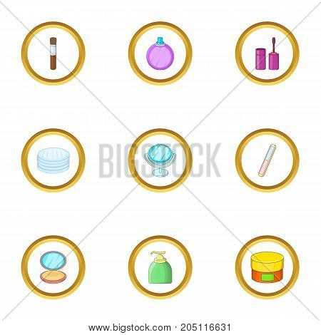 Cosmetology icons set. cartoon style set of 9 cosmetology vector icons for web design
