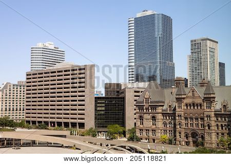 The buildings on Bay Street next to the New City Hall in Toronto