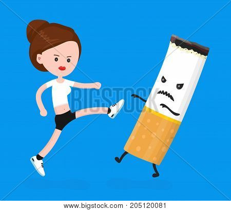 Young angry sport fitness shapely woman girl kick cigarette.Vector modern flat style cartoon character illustration. Isolated on white background.nicotine addiction, healthy lifestyle concept