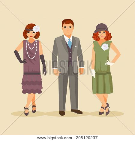 Group of stylish people dressed in the fashion of the 1920s. Vector retro illustration