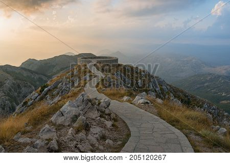 Montenegro. Viewpoint in the Lovcen National Park before sunset