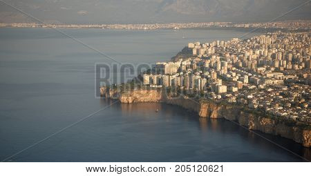 View of the city of Antalya Turkey from the aircraft. September 2017