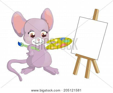 funny mouse painter draws on the easel