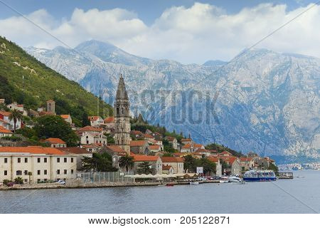 Montenegro.View of Perast town from the sea