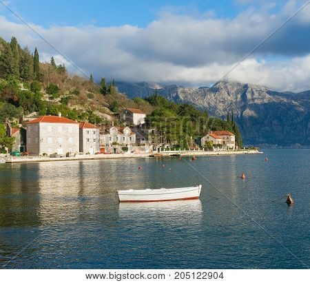 View of the medieval town of Perast on a sunny winter day. Bay of Kotor , Montenegro