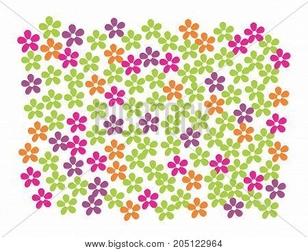 Background pattern of colorful flowers. Vector illustration.