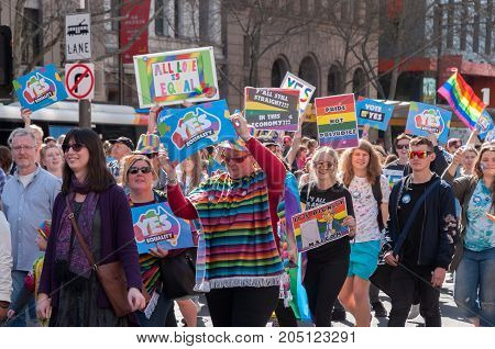 Adelaide, AU - September 16, 2017: Over 5000 supporters of Marriage Equality gather at the South Australian Parliament House for the largest Equal Rights rally held in Adelaide.
