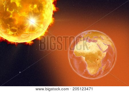 Solar flare and Earth showing Africa, 3D illustration. Elements of this image furnished by NASA
