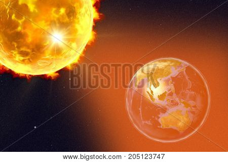 Solar flare and Earth showing Indonesia, Australia, Malaysia and Japan, 3D illustration. Elements of this image furnished by NASA
