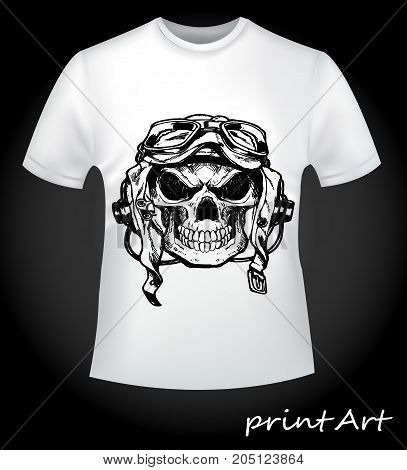 Print skull pilot on a T-shirt. Scary skull pilot - creative print for men's T-shirt. A collection of stylish things.