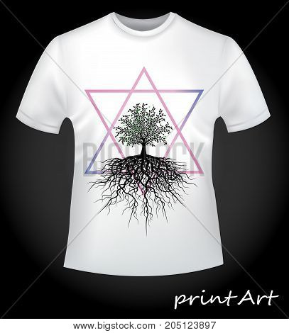 Close-up - the tree of life in a gradient triangle - an interesting idea for printing on a T-shirt.