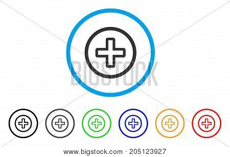 Create rounded icon. Style is a flat create grey symbol inside light blue circle with black, gray, green, blue, red, orange variants. Vector designed for web and software interfaces.
