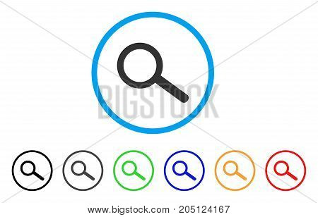 Find Tool rounded icon. Style is a flat find tool grey symbol inside light blue circle with black, gray, green, blue, red, orange color versions. Vector designed for web and software interfaces.