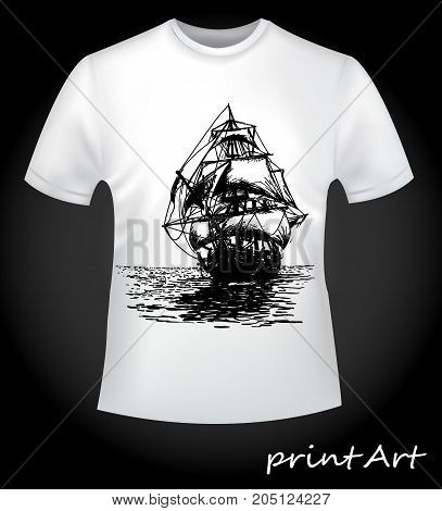 The idea for a print on a man's T-shirt is a ship, close-up. Creative, fashionable print on clothes