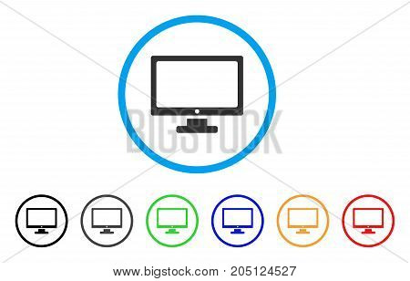 Monitor rounded icon. Style is a flat monitor grey symbol inside light blue circle with black, gray, green, blue, red, orange variants. Vector designed for web and software interfaces.