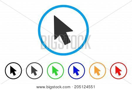 Mouse Cursor rounded icon. Style is a flat mouse cursor gray symbol inside light blue circle with black, gray, green, blue, red, orange color versions. Vector designed for web and software interfaces.