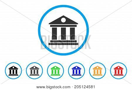 Museum rounded icon. Style is a flat museum gray symbol inside light blue circle with black, gray, green, blue, red, orange color versions. Vector designed for web and software interfaces.
