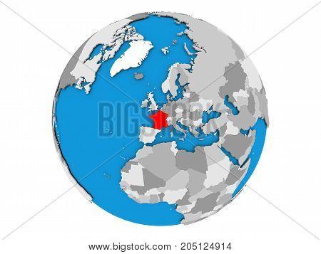 France On Globe Isolated