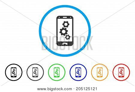 Smartphone Settings Gears rounded icon. Style is a flat smartphone settings gears gray symbol inside light blue circle with black, gray, green, blue, red, orange versions.