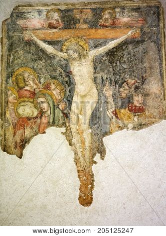 VERONA ITALY - MAY 1 2016: Crucified fresco in Castelvecchio Museum. Verona Italy
