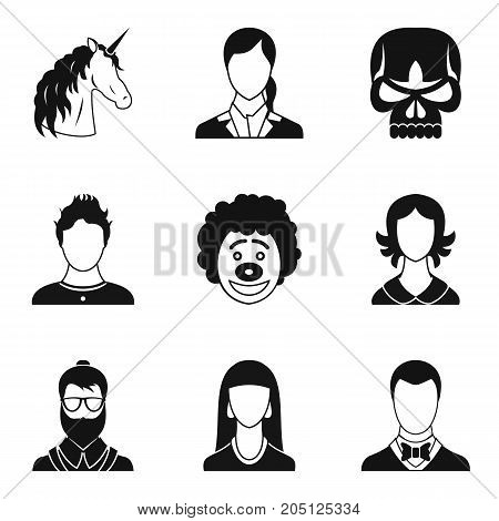 Aspect icons set. Simple set of 9 aspect vector icons for web isolated on white background