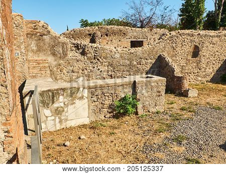 Ruins Of Pompeii, Ancient Roman City. Pompei, Campania. Italy.