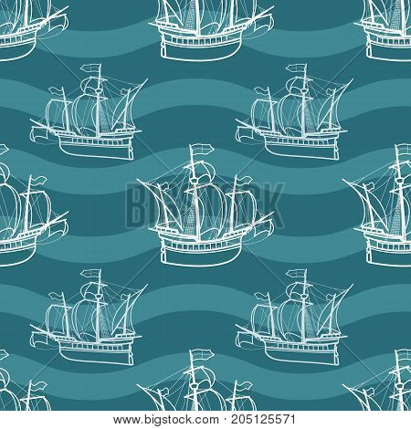 Seamless marine pattern with sailing ships. Vector nautical illustration. Old sailing ship retro seamless background. For wrapping paper, fabric, textile print.