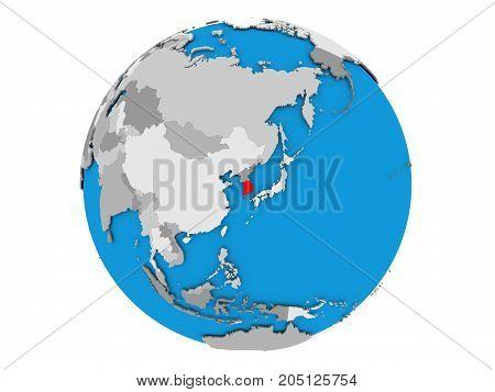 South Korea On Globe Isolated