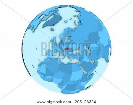 Hungary On Blue Globe Isolated