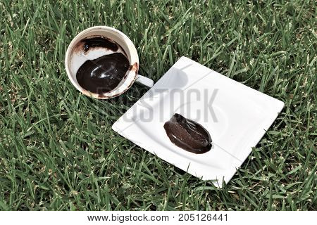 coffee grounds on the bottom of the mug. a cup on the grass. turkich coffee. green meadow and white tableware. grass background. dirty dish. fortune telling