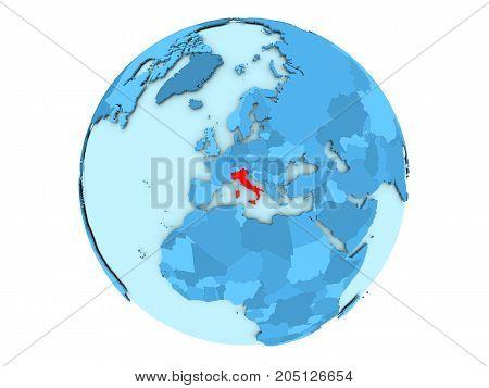 Italy On Blue Globe Isolated