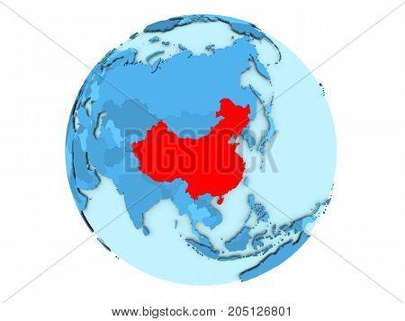 China On Blue Globe Isolated
