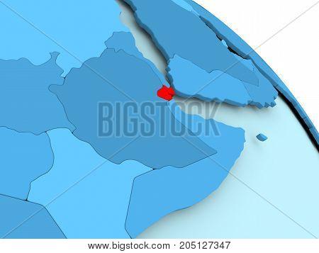 Djibouti On Blue Globe