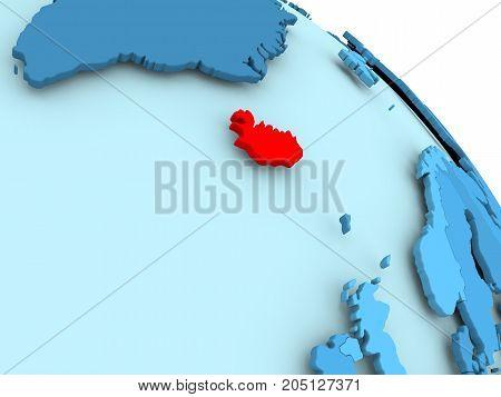 Iceland On Blue Globe