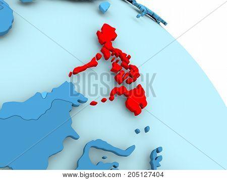 Philippines On Blue Globe