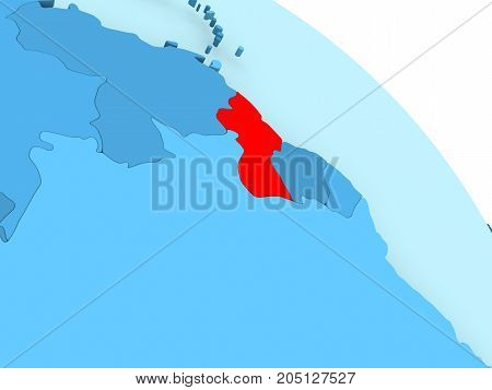 Guyana On Blue Globe