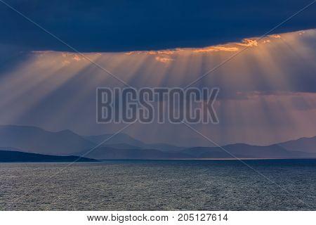 sunrise in Ionian Islands. Lefkada island Greece