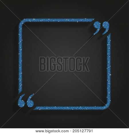 Blue Square Quote Blank Template. Blue Mosaic Sequins Glitter Sparkle. Bracket.