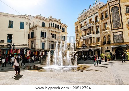 Tunisia.Tunisia.May 25 2017.Square with a fountain in the Medina in the capital of Tunisia