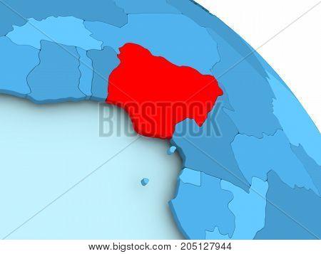 Nigeria On Blue Globe