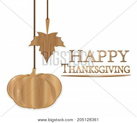Thanksgiving Day design. Golden pumpkin golden autumn leaves and gold lettering Happy Thanksgiving. Vector illustration isolated on white background