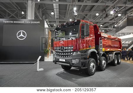 MOSCOW, SEP, 5, 2017: Close up view on Mercedes-Benz Arocs 4142K dump truck exhibit on Commercial Transport Exhibition ComTrans-2017. Mercedes Benz commercial transport trucks for construction works