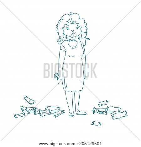 woman with eating disorder eat sugar products, Illustration
