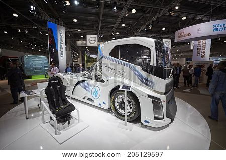 MOSCOW, SEP, 5, 2017: View on Volvo drag race high speed racing truck exhibit on Commercial Transport Exhibition ComTrans-2017 Automobile industry last achivements. Volvo commercial and Sport trucks
