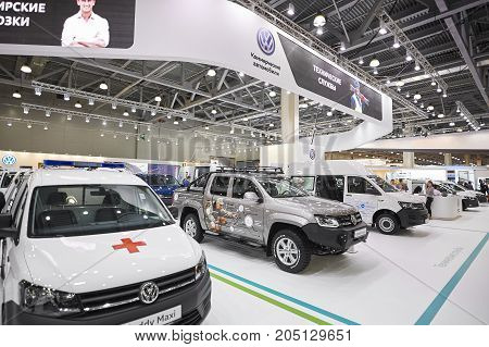 MOSCOW, SEP, 5, 2017: View on new Volkswagen customized off road cars, service commercial cars exhibits on Commercial Transport Exhibition ComTrans-2017. Volkswagen cars for civil transportation