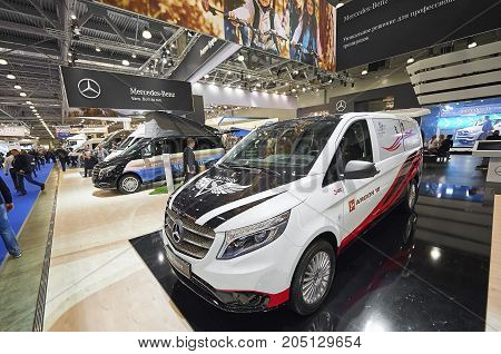 MOSCOW, SEP, 5, 2017: View on customised for sports minivan mini bus Mercedes Benz Vito Tourer exhibit on Commercial Transport Exhibition ComTrans-2017. Commercial civil Mercedes-Benz cars vehicles