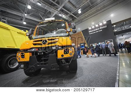 MOSCOW, SEP, 5, 2017: View on new service truck Mercedes-Benz Unimog for various service modifications City service trucks Commercial Transport Exhibition ComTrans-2017 Mercedes Benz special cars