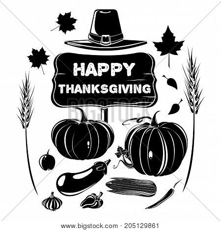 Thanksgiving design. Harvest festival. Various vegetables, pilgrim hat and old wooden board with the inscription - Happy Thanksgiving. Vector illustration